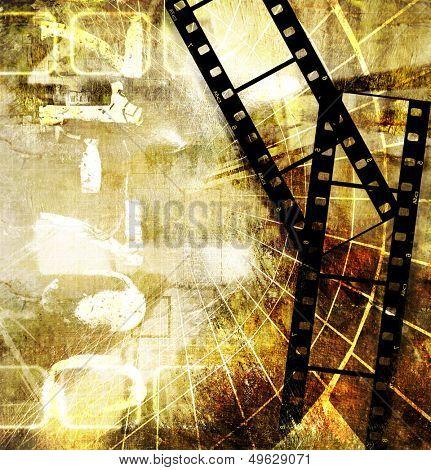retro  grunge background with film strips