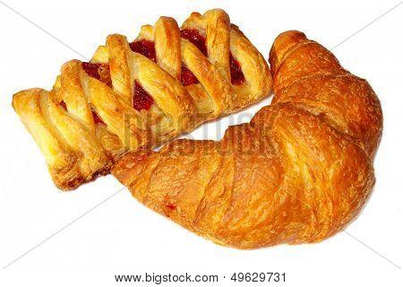appetizing golden croissants isolated