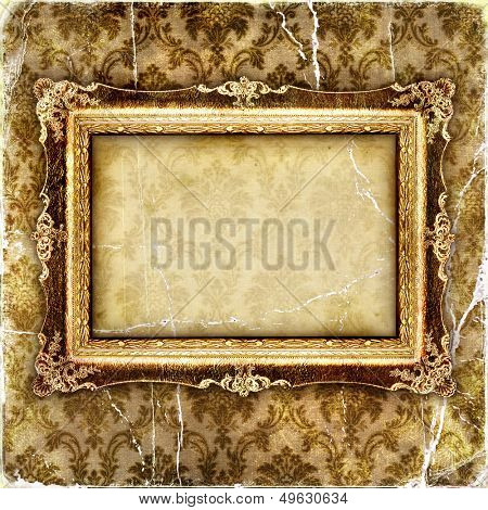 vintage tattered wallpaper with picture frame