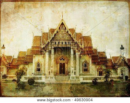 Thailand - white temple - vintage picture