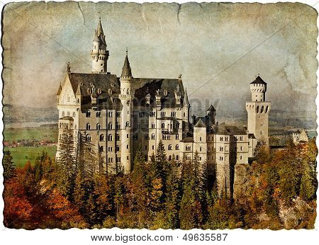 Neuschwanstein castle - retro styled picture