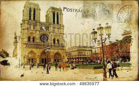vintage Parisian cards series -notredame cathedral