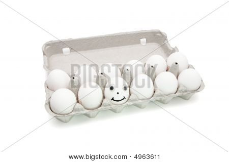 Humpty Dumpty Egg  In Paper Box Isolated
