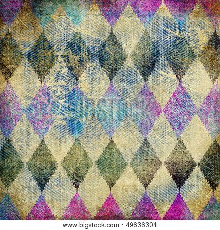 retro denim background with rhombus patterns poster