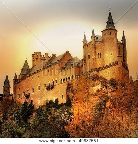 impressive Alcazar castle on sunset - Segova, Spain