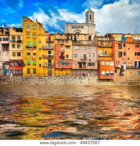 Girona - pictorial city of Catalonia, Spain poster
