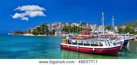 pictorial harbors of small greek islands - Skopelos poster