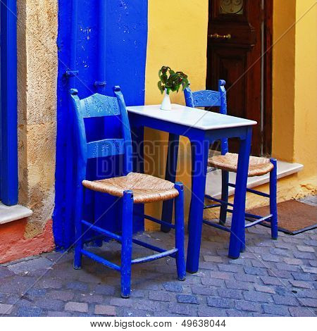 colorful Greece - traditional street taverna