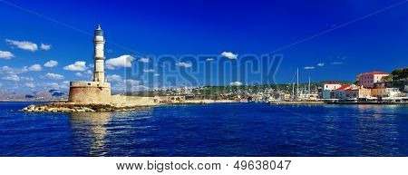 beautiful Greek islands series - Crete ,panorama with light house