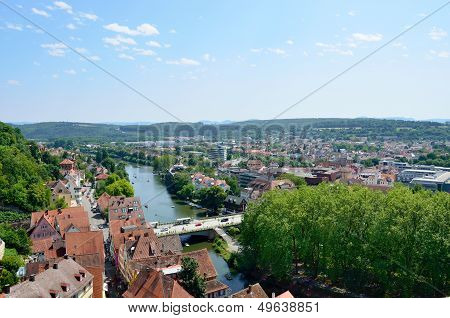 Aerial View Of The Old Town Of Tuebingen, Germany