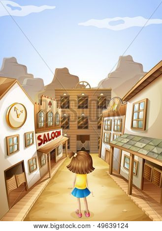 Illustration of a little girl in the middle of the saloon bars