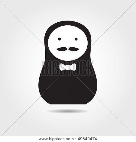 Concept russian matrioshka doll. Men.