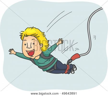 Illustration of a Man Strapped in a Harness Happily Doing a Bungee Jump