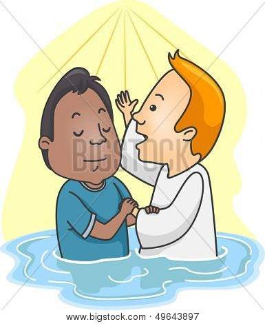 Illustration of a Man Being Baptized in Water