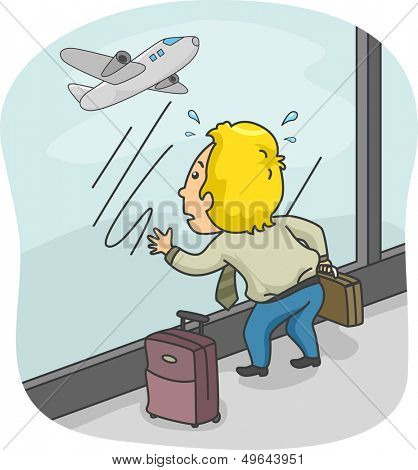 Illustration of a Man with His LuggageTrying to Catch His Flight