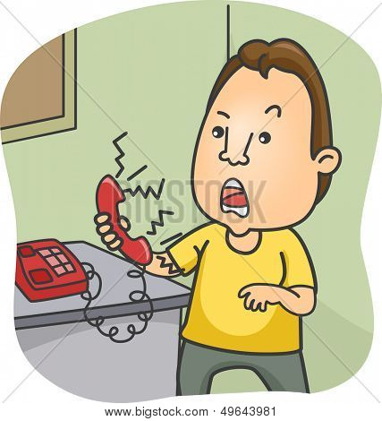 Illustration of a Man Holding a Phone with an Irate Caller on the Line