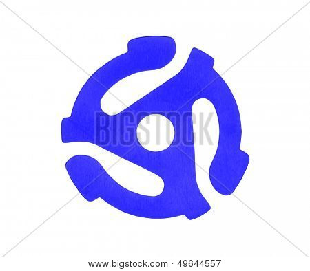 Vintage blue plastic adapter for playing 45 r.p.m. vinyl singles on 33 r.p.m. record players.