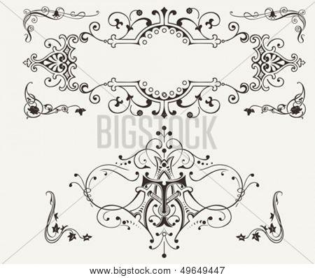 Set Of Vintage Curves Design Elements