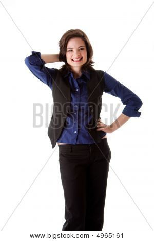 Young Business Woman Standing Smiling