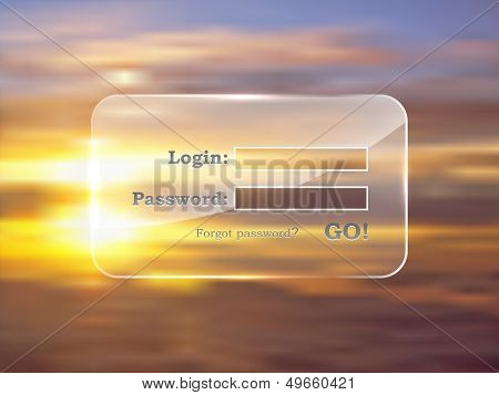 Website login glass form vector template on subset background. You can easily change background on yours.