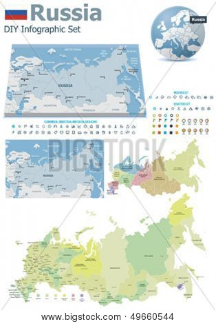 Russia maps with markers