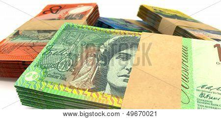Australian Dollar Notes Bundles Stack Extreme Closeup