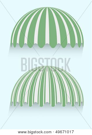 detailed illustration of round striped awnings