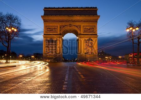 Arc de Triomphe in Paris at sunset - Arch of Triumph poster