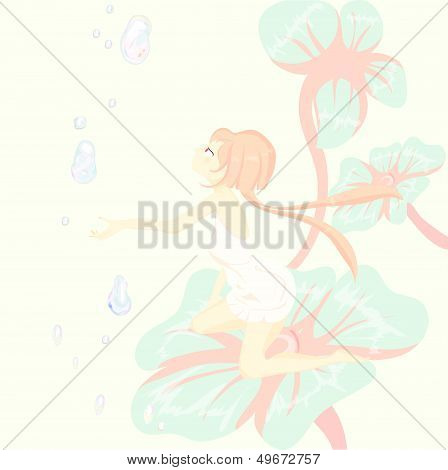 Fantasy. fairy tale, Thumbelina is sitting pretty on a flower