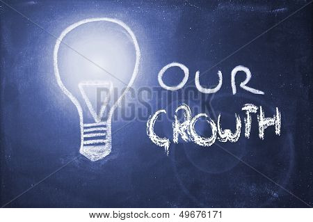 Chalk Design With Lightbulb, Business Growth
