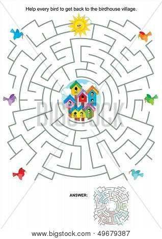 Maze game for kids - birds and birdhouses