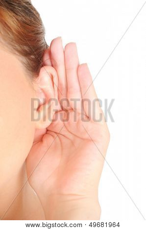 Isolated girl listening on white background