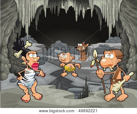 Funny prehistoric family in the cavern. Cartoon and vector illustration
