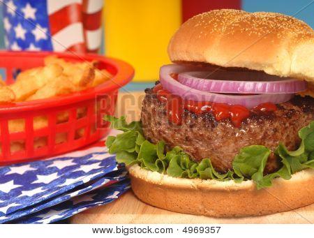 Hamburger In 4Th Of July Setting