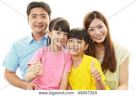 Happy family smiling together