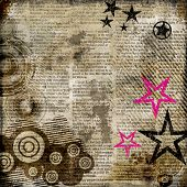 retro background in grunge style with stars over newspaper poster