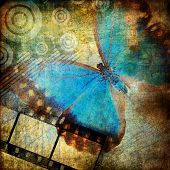 grungy artwork with butterfly poster