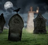 Woman holding lantern haunts cemetery at Halloween poster