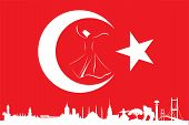 turkish flag and silhouette landmarks vector illustration poster