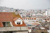 Vigo city on rainy day Galicia Spain poster