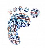 Reflexology in word collage poster