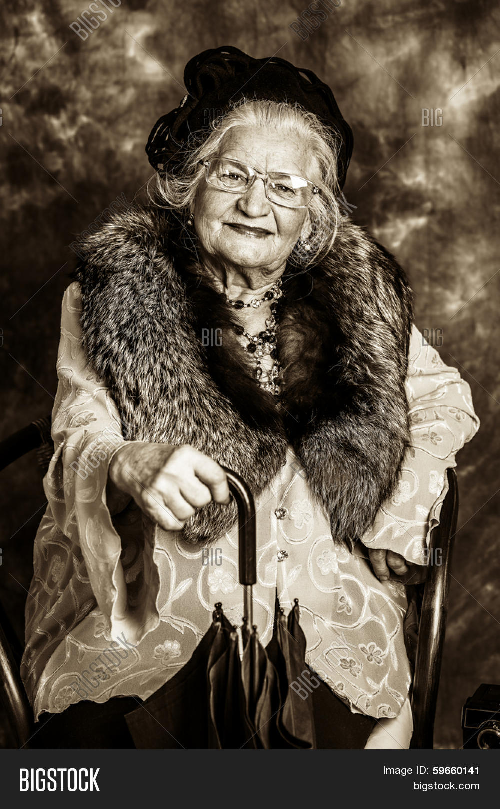 Portrait Beautiful Old Lady Elegant Image Photo Bigstock
