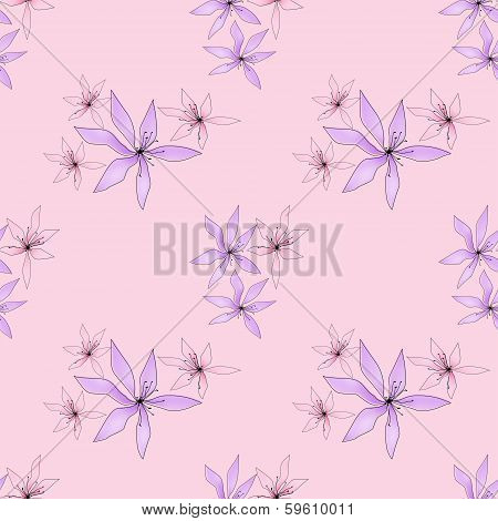 Seamless Floral Pattern On Pink