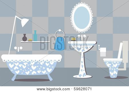illustration of blue bathroom