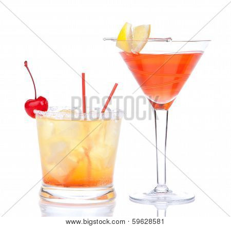 Two Cocktails Red Alcohol Cosmopolitan Cocktail Decorated