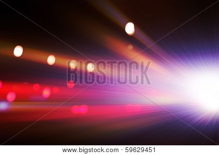 Abstract image of driving  in the tunnel at night. Motion blur. poster