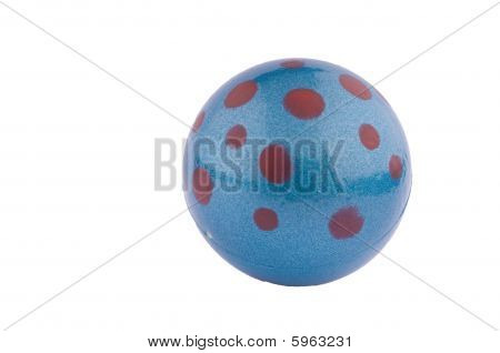 Blue Rubber Ball With Red Dots