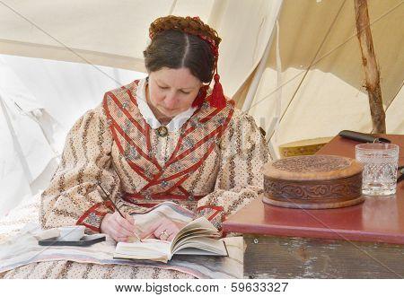 Civil-war Era Reenactor Working On A Watercolor