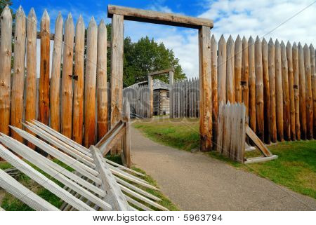 Gateway through the wooden palisade fortification of Fort Ligonier.  Fort was built by General Forbes in his French and Indian War campaign to capture present day Pittsburgh. poster
