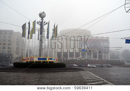 KIEV, UKRAINE - FEB 10, 2014: Downtown of Kiev.Extremist riot in Ukraine.February 10, 2014 Kiev, Ukraine
